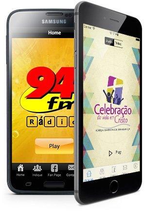 Aplicativos iOS e Android para rádios e TVs dois celulares