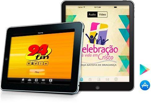 Aplicativos iOS e Android para rádios e TVs tablets
