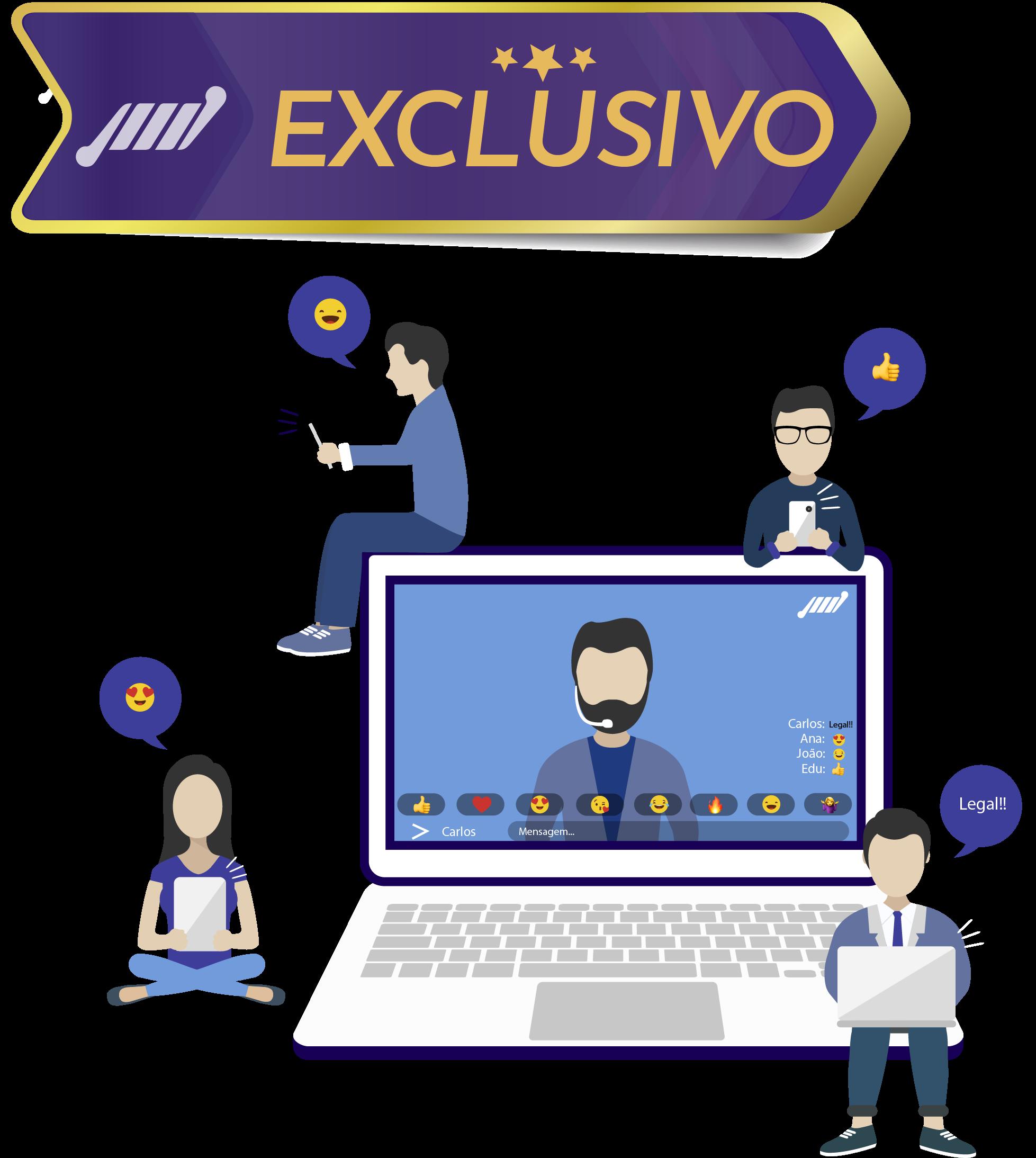 exclusivo chat integrado streaming de video ao vivo