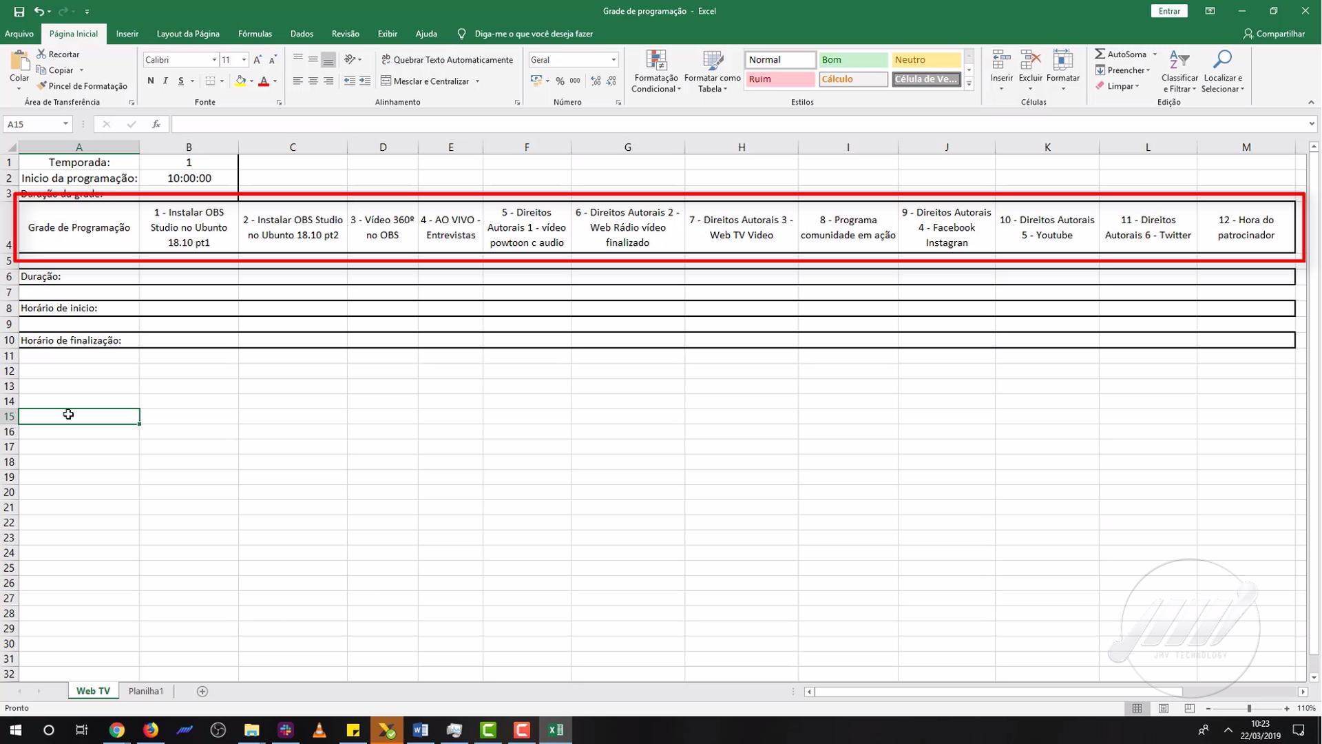 Como criar uma planilha de programação para sua Web TV 02