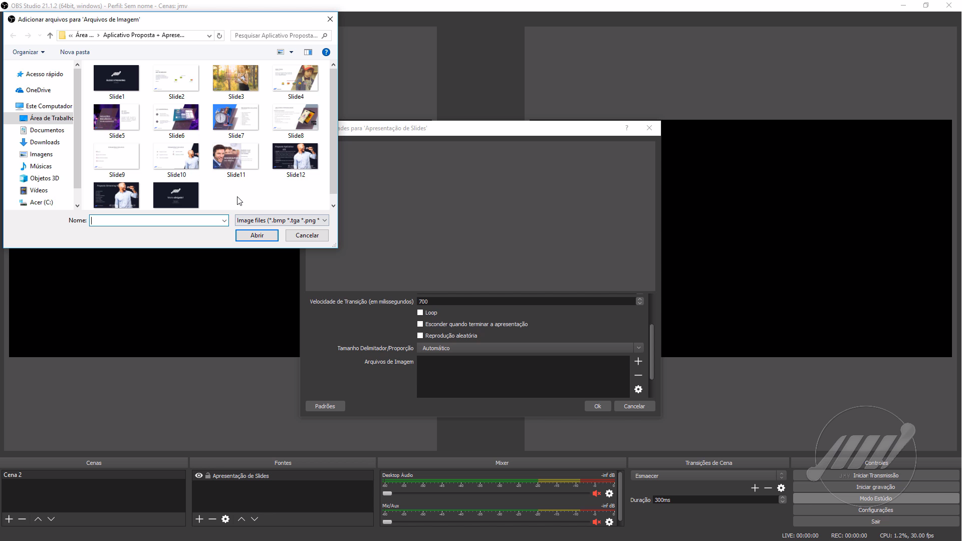 como transmitir slides ao vivo usando o Obs Studio 02